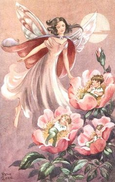 fairy and children in wild rose by Rene Coke
