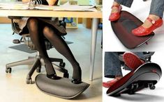 "Get an ""active footrest"" to keep your legs from getting cramped. 