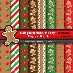 FREE Christmas Gingerbread Party Digital Paper Pack