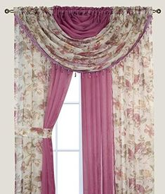 Complete Window Sheer Voile Curtain Panel Set with 4 Attached Panels Each) and 2 Attached Valances with Beads and 2 Tiebacks - Easy Installation - Multicolor Floral Rose and Solid Pink Pink Sheer Curtains, Small Window Curtains, Voile Curtains, Voile Panels, Sheer Curtain Panels, Curtain Rods, Wedding Bedroom, Blackout Drapes