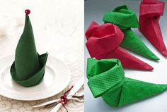 Top 12 Creative Ways to Fold a Napkin Fold napkins into elf hats or elf shoes for a holiday dinner party.Fold napkins into elf hats or elf shoes for a holiday dinner party. Christmas Napkin Folding, Christmas Napkins, Christmas Holidays, Christmas Decorations, Xmas, Bunny Napkin Fold, Deco Table Noel, Elf Shoes, Elf Hat