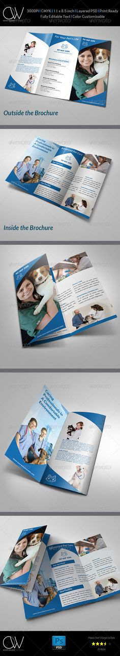 Printable Tri Fold Brochure Template Amazing Pet Services Trifold Indesign Template  Only Available Here .