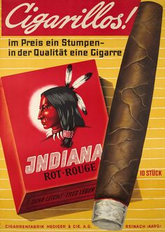 Ferdinand SCHOTT – Vintage poster – Swiss object poster for Indiana cigars