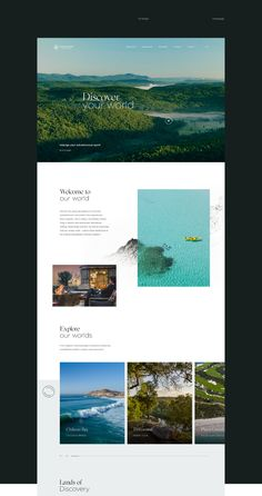 hotel website Discovery Land Company on Behance Layout Design, Website Design Layout, Website Design Inspiration, Web Layout, Blog Design, Homepage Design, Flat Web Design, Design Ios, Modern Web Design