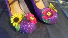Custom made sunflower alternative wedding shoes created by revivemeboutique.