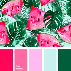 Best Cost-Free tropical Color Palette Concepts Whether you are inexperienced or maybe an existing hand, utilizing shade is definitely the single mo Color Schemes Colour Palettes, Spring Color Palette, Green Colour Palette, Spring Colors, Bright Color Schemes, Pink Palette, Bright Colours, Spring Green, Bright Green