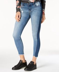 Celebrity Pink Juniors' Two-Tone Skinny Jeans | macys.com