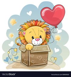 Birthday card with a cute lion vector image on VectorStock Clipart Baby, Kids Cartoon Characters, Cartoon Kids, Cute Cartoon Animals, Cute Animals, Lion Vector, Cute Lion, Belly Painting, Cute Drawings