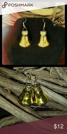 Christmas Bell Ornament Gold Colored Earrings Christmas Bell Ornament Gold Colored Earrings Jewelry Earrings