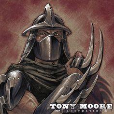 Tony Moore, Sketch-A-Day, Shredder Ninja Turtles Art, Teenage Mutant Ninja Turtles, Shredder Tmnt, Ninga Turtles, Mythology Tattoos, Warrior King, Renaissance Artists, Sketch A Day, Manga Games