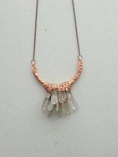 Quartz Cluster Half Circle  Electroformed Copper Necklace by Aerow