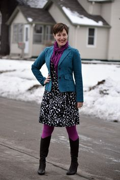 Already Pretty outfit featuring teal blazer, polka dot dress, magenta tights, magenta scarf, black Coclico boots