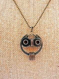 Owl Necklace Bronze & Black Steel Bicycle Chain Hardware