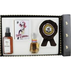 JUICY CRITTOURE by Juicy Couture FOR DOGS-EAU DE PARFUM SPRAY 1 OZ & SOFT SPOT COAT CONDITIONING MIST 5 OZ & PAWLETTES CLEANSING TOWELETTES 6 PACK & SOFT SQUEAKY CHEW TOY
