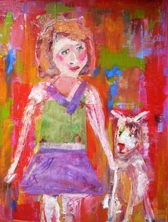 "Saatchi Online Artist Rebecca Rousseau; Painting, ""A Girl and Her Dog"" #art"