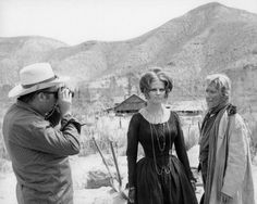 Director Sergio Leone, Claudia cardinal and Paolo Stoppa on the set of Once Upon a Time in the West, 1968