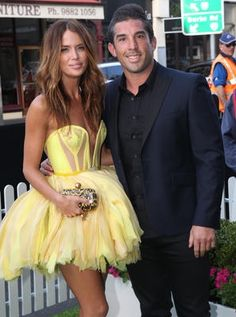 Actress Jodi Gordon with fiance Braith Anasta at the premiere of the movie The Cup on September 9, 2011