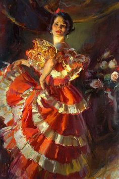 """Flamenco"" by Daniel Gerhartz Russian Painting, Russian Art, Dance Art, Woman Painting, Beautiful Paintings, Romantic Paintings, Famous Artists, Traditional Art, Female Art"
