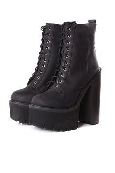 Jeffrey Campbell Syndicate Black Platform Boots on Glamorous