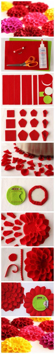 diy, diy projects, diy craft, handmade, diy ideas, diy modular felt flower