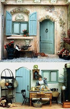 Provance Style Miniature dollhouse and kitchen