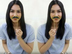I mustache you a question Julia Barretto! Filipina Beauty, Star Magic, Kurt Cobain, Mustache, Round Sunglasses, Abs, Actresses, This Or That Questions, Celebrities