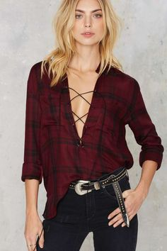 Nasty Gal Morgane Lace-Up Plaid Shirt - Clothes | Shirts + Blouses | Tops