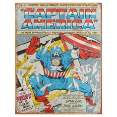 Marvel Vintage Metal Art Decorative 'Captain America Comic Cover' Tin Sign