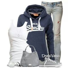 Jeans and Hoodie Mode Outfits, Casual Outfits, Fashion Outfits, Womens Fashion, Fashion Ideas, Casual Wear, Mode Style, Style Me, Jeans And Hoodie