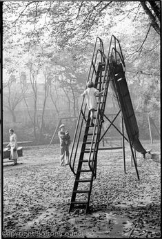 Children play on the slide in the playground in Queen's Park, Bolton. 1980s Childhood, My Childhood Memories, London History, Parcs, The Good Old Days, Vintage Photography, Black And White Photography, Old Photos, Ancient Greece