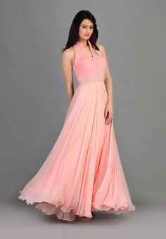 """Buy Pink Faux Georgette and Net Readymade Gown online, work: Embroidered, color: Pink, usage: Party, category: Indo Western, fabric: Georgette, price: <span class=""""Geosymbol"""">`</span>36955.00, item code: TRX1, gender: women, brand: Utsav"""