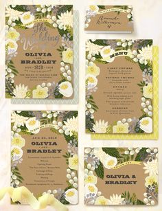 Unique yellow floral canopy wedding invitations from @minted