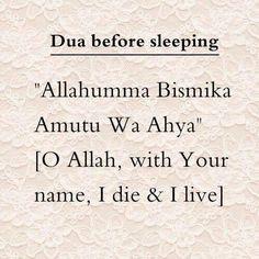 Dua before sleeping Muslim / Islam / religion / guidance / truth Prophet Muhammad Quotes, Hadith Quotes, Allah Quotes, Muslim Quotes, Religious Quotes, Muhammad Ali, Islam Hadith, Duaa Islam, Allah Islam