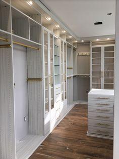 California Closets luxe walk-in Tesoro finish Tuscan Moon, brass gold Lews hardware, Kristen Miller-Moore, southern New Jersey