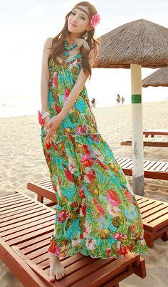 summer long beach dress green