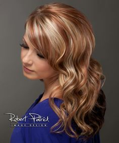 Blonde and Red highlights on long layered hair -Blair@ shear
