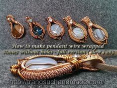 Tutorial to make pendant wire wrapped stones without holes. made of copper wire and gem, combined with wrapping and bending techniques