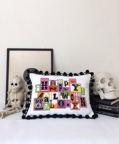 Happy Halloween - modern cross stitch pattern PDF - Instant download by SatsumaStreet on Etsy https://www.etsy.com/listing/198746257/happy-halloween-modern-cross-stitch