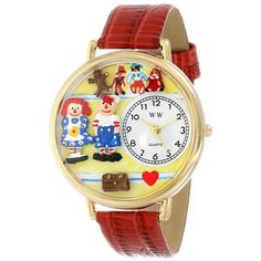 Whimsical Unisex Raggedy Ann/Andy Red Leather Watch. #raggedyann #dolls #watch