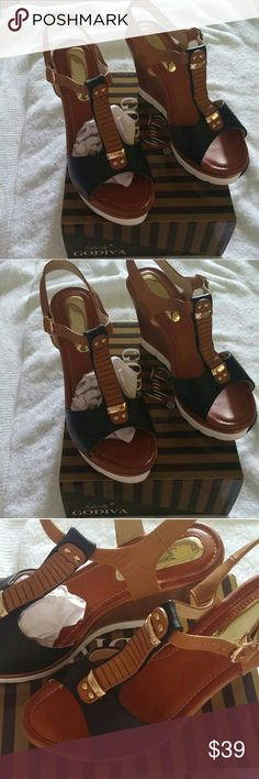 Lady Godiva sandals size 9 Like new, wore one time. Lady Godiva heel sandals brown, black with gold accents. Size 9 Smoke free, pet free home. Please let me know any question. Lady Godiva Shoes Heels
