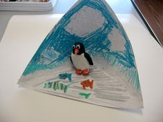 Penguin triorama for habitats! Yessss! Great for Open House and if you can't find 20 shoe boxes