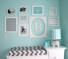 My daughters room is already this tiffany blue color but it could be shared with baby Boy just add the grey chevron & maybe orange Centre, Gallery Wall, Nursery, Table, Furniture, Wall Ideas, Home Decor, Fabric Patterns, Initials