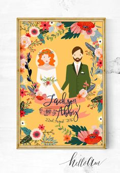 Items similar to couple portraits - gift for couples - wedding illustration - wedding gifts - wedding - anniversary gift - engagement ornament - bridesmaid on Etsy Last Minute Wedding Gifts, Unique Wedding Gifts, Unique Weddings, Trendy Wedding, Boho Wedding, Gift Wedding, Indian Weddings, Wedding Vows, Romantic Weddings