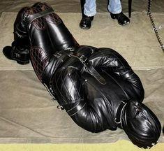 Leather Men, Leather Pants, Black Leather, Man Tied Up, Straight Jacket, Sleep Sacks, Venom Comics, Dark Side, Kinky