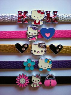 Hello Kitty Bracelet Leather Wristband With Slide Charms Miss Kitty, Kitty Kitty, Leather Wristbands, Leather Bracelets, Pink Scrunchies, Hello Kitty House, Hello Kitty Jewelry, Cat Character, Girly Things