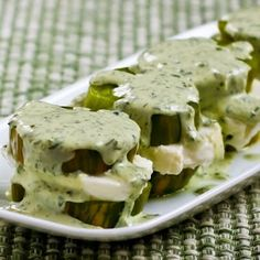Recipe for Green Goddess Tomato-Mozzarella Stacks (with Green Zebras and Fresh Mozzarella); these are amazing. You can also use red tomatoes if you don't have Green Zebras. There's a link for my recipe for Greek Goddess Salad Dressing in this post. [from Kalyn's Kitchen] #LowCarb #GlutenFree #Tomatoes