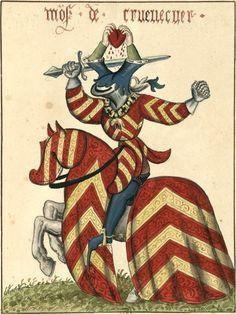 Jacques sgr de Crèvecœur, chevalier de la Toison d'Or (Gaignières 1847) -- Aquarelle, Fonds Gaignières (BNF Réserve Pd-7-Fol.] -- «Mo(n)s. de Cruevecuer»