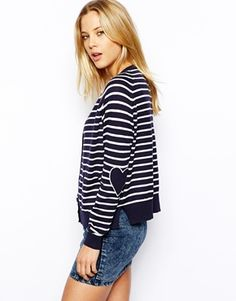ASOS+Cardigan+In+Stripe+With+Heart+Elbow+Patch