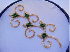 hand embroidery:brodeline embroidery with two colors of bead Bead Embroidery Tutorial, Embroidery Neck Designs, Basic Embroidery Stitches, Hand Embroidery Videos, Bead Embroidery Patterns, Hand Embroidery Flowers, Hand Work Embroidery, Simple Embroidery, Bead Embroidery Jewelry