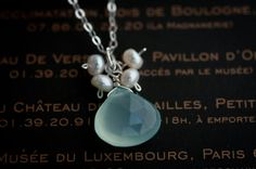 Aqua Blue Chalcedony Necklace Pearl with by LoveGemStudio
